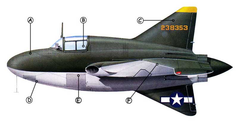 Northrop XP-56 Black Bullet, profil couleur