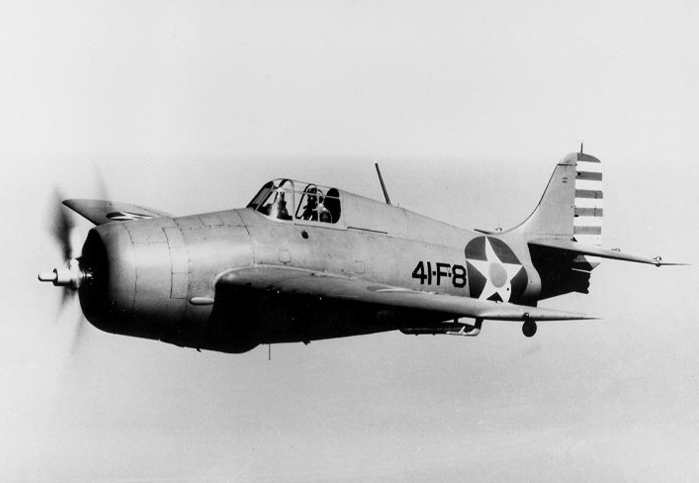 Grumman F4F-4 Wildcat de l'US Navy en vol